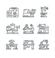 industrial machines line icons factory vector image