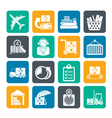 Silhouette Cargo and shipping icons vector image