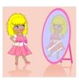 little girl near a mirror vector image