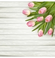 Pink tulips over white wood EPS 10 vector image