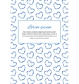 Card background with many little blue hearts and vector image