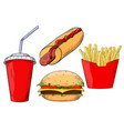 fast food set - hamburger hot dog french fried vector image
