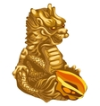 Figure of Golden dragon with an offering vector image