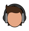 person with headphones icon image vector image