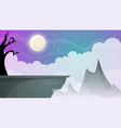 travel night cartoon landscape tree mountain vector image