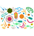 virus bacteria icons set cartoon flat color vector image