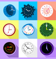 wall clock icons set flat style vector image
