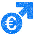 euro growth icon grunge watermark vector image