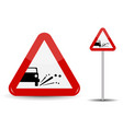 sign warning emission of gravel stones in red vector image
