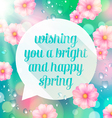 Abstract speech bubble with spring greeting vector image vector image