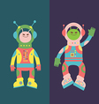 Two friends aliens vector image vector image
