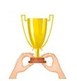 Winner cup in hands eps10 vector image