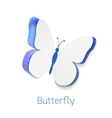 Butterfly cut out of paper isolated on white vector image vector image