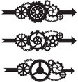 a set of three arrows with gears vector image