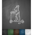 bear scooter icon Hand drawn vector image