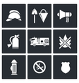 Fire Department Service icons set vector image