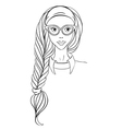 Girl in glasses and with long braid vector image
