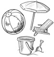 doodle beach ball bucket shovel chair umbrella vector image