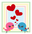 Couple birds with heart Vector Image