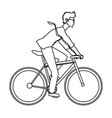 young man riding bicyle with suit and glasses vector image