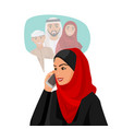 muslim woman in hijab talking over phone with vector image