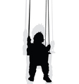 baby on a swing black silhouette vector image