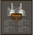 beer brewery menu list vector image vector image