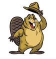 cartoon of beaver character wearing a hat vector image