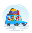 happy couple car trip father mother girl dog vector image