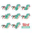 key frames animation of bird flying cartoon zoo vector image