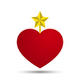 Love Heart with Five Point Star vector image