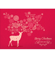 Merry christmas new year deer holiday card nature vector image