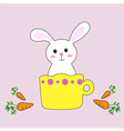pastel rabbit smiling in a coffee cup with carrot vector image