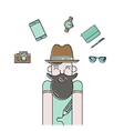 Smiling bearded man and gadgets icons vector image