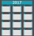 Calendar 2017 week starts on Sunday 12 months set vector image vector image