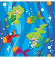 seamless mermaids fish in water with waves vector image