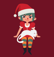 Christmas Girl Sitting with a Cat on her Lap vector image