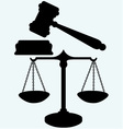 Scale and judge gavel vector image vector image