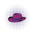Cowboy hat icon comics style vector image