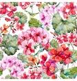 Watercolor geranium pattern vector image