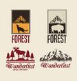 beige color set with rectangle frame logo forest vector image