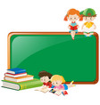 border design with children reading books vector image