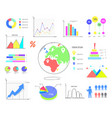 colorful graphics and charts set vector image
