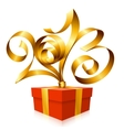 gold ribbon in the shape of 2013 vector image
