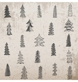 Hand drawn Christmas Tree Set on grunge Background vector image
