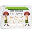 Boy with facial expressions and hand gestures vector image vector image