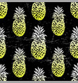 ink hand drawn seamless pattern with pineapples vector image vector image