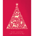 Merry christmas happy new year pine tree deer card vector image
