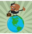 Man Standing On Top of the World Cartoon vector image vector image
