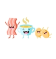 Coffee Bacon And Eggs Cartoon Friends vector image